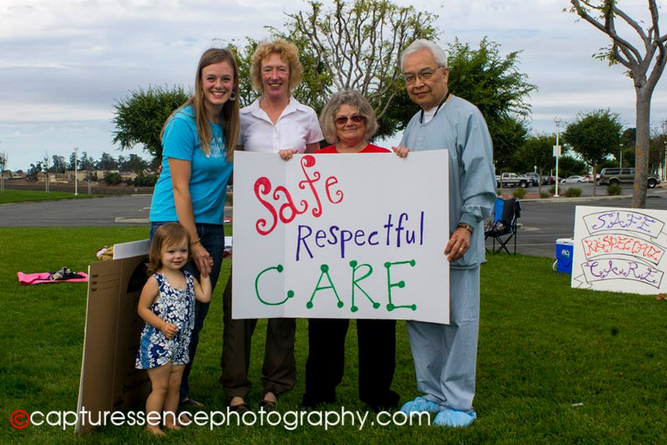 Aloura Nevares (2013 Rally Coordinator), County Supervisor Jane Parker, Licensed Midwife and former California Assn of Midwives President Maggie Bennett, and Dr Caleb Liem at our 2013 Rally to Improve Birth